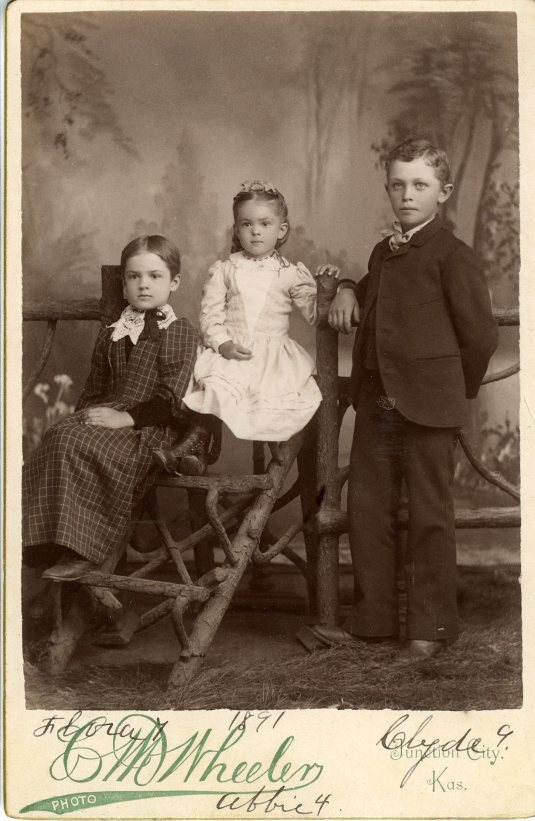 Flora - 7, Abbie - 4, Clyde - 9, taken in 1891