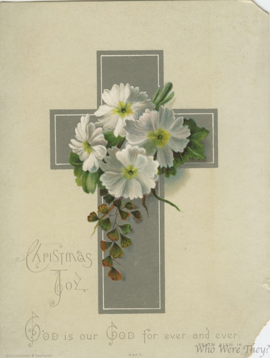 Silver cross and lilies
